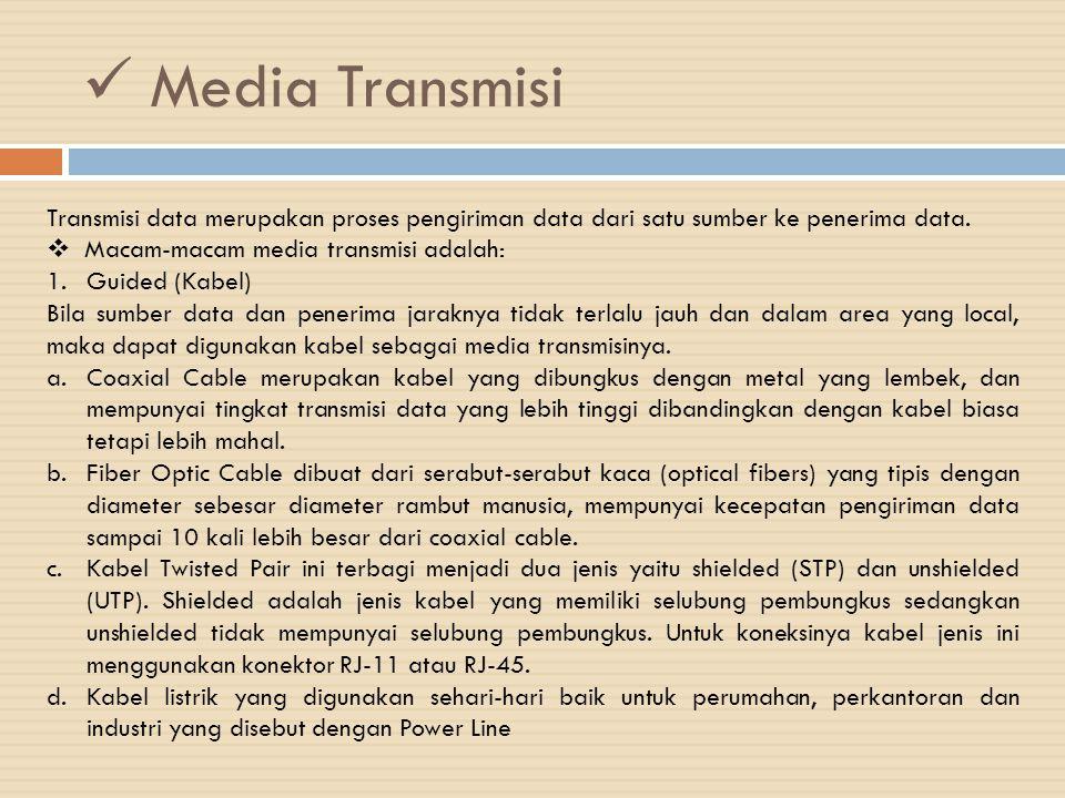 Media Transmisi Transmisi data merupakan proses pengiriman data dari satu sumber ke penerima data. Macam-macam media transmisi adalah: