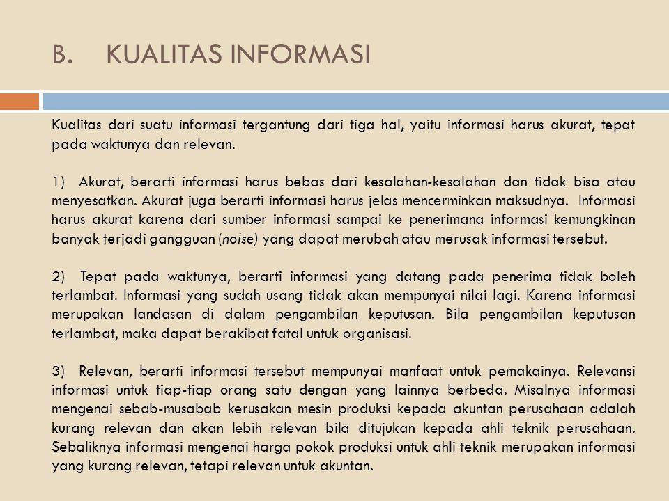 KUALITAS INFORMASI Kualitas dari suatu informasi tergantung dari tiga hal, yaitu informasi harus akurat, tepat pada waktunya dan relevan.