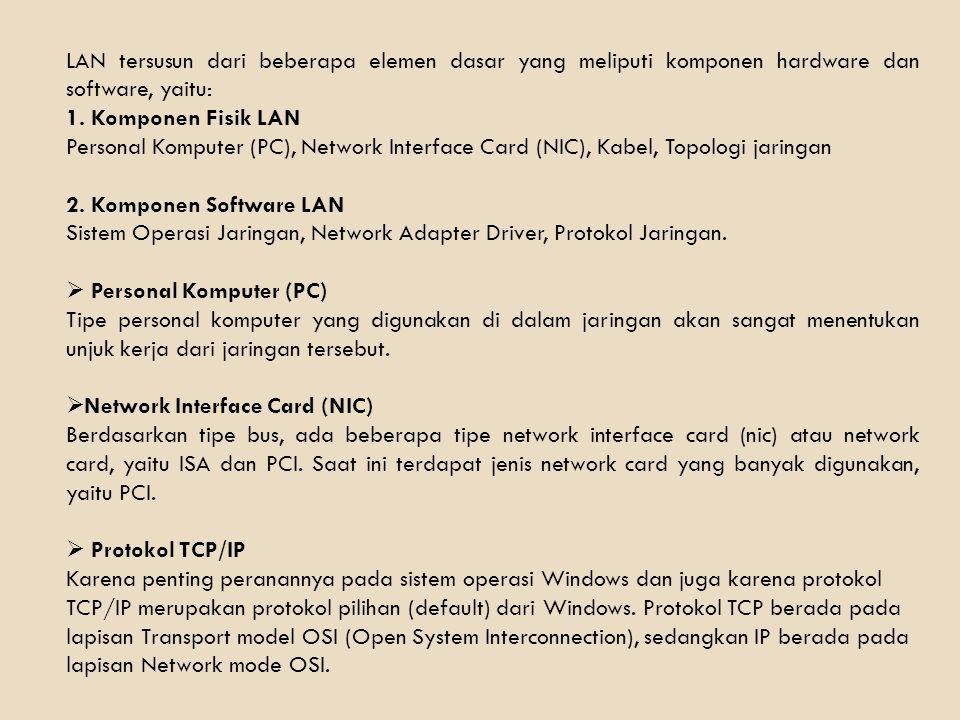 LAN tersusun dari beberapa elemen dasar yang meliputi komponen hardware dan software, yaitu: