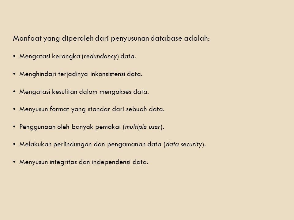 Manfaat yang diperoleh dari penyusunan database adalah: