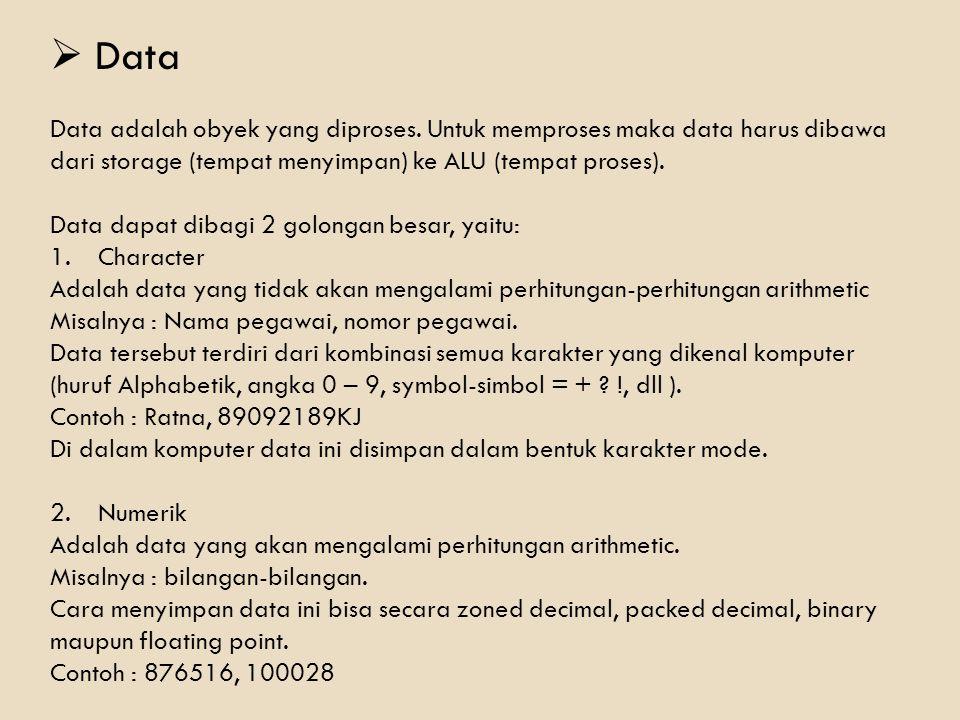 Data Data adalah obyek yang diproses. Untuk memproses maka data harus dibawa dari storage (tempat menyimpan) ke ALU (tempat proses).