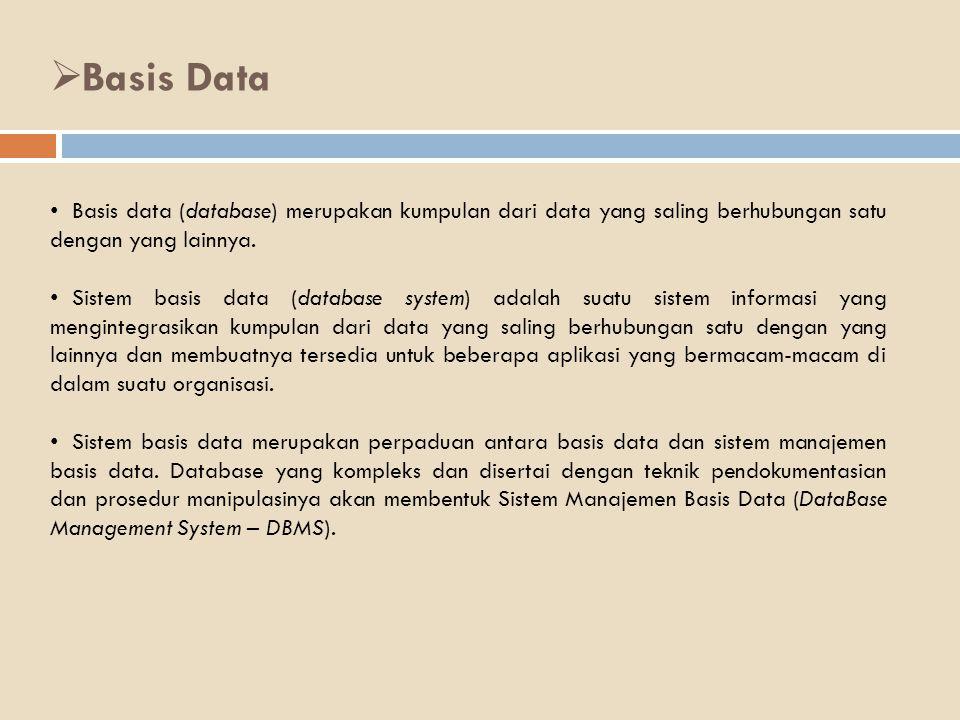 Basis Data Basis data (database) merupakan kumpulan dari data yang saling berhubungan satu dengan yang lainnya.