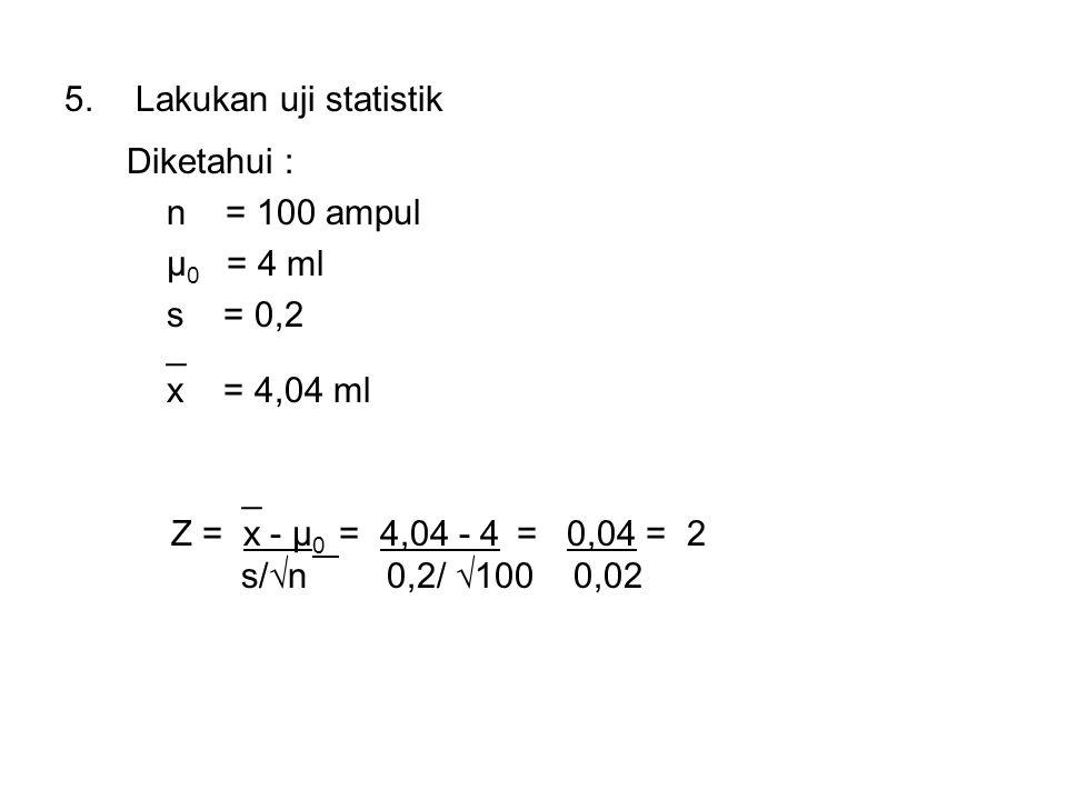 Lakukan uji statistik Diketahui : n = 100 ampul. μ0 = 4 ml. s = 0,2. _. x = 4,04 ml.