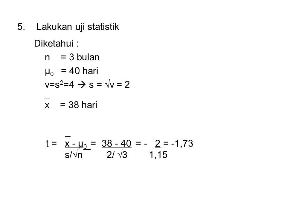Lakukan uji statistik Diketahui : n = 3 bulan. μ0 = 40 hari. v=s2=4  s = √v = 2. _. x = 38 hari.