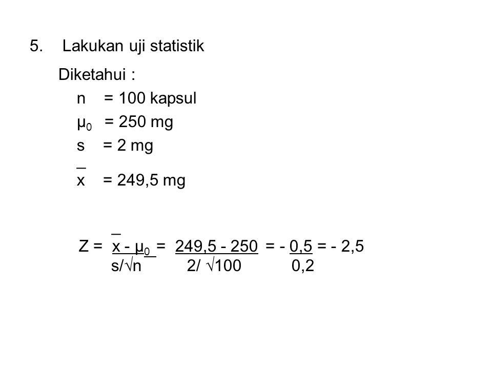 Lakukan uji statistik Diketahui : n = 100 kapsul. μ0 = 250 mg. s = 2 mg. _. x = 249,5 mg.