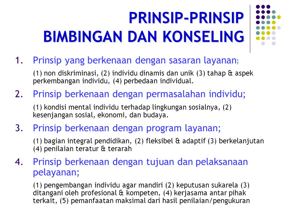 PRINSIP-PRINSIP BIMBINGAN DAN KONSELING