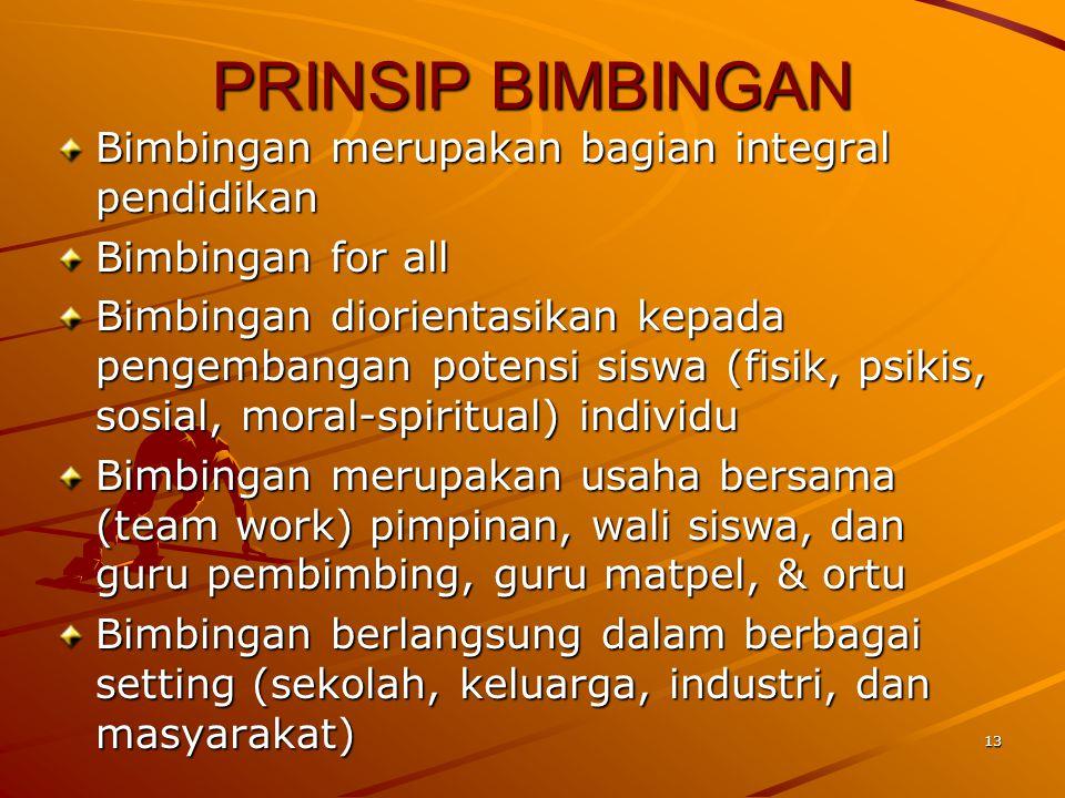 PRINSIP BIMBINGAN Bimbingan merupakan bagian integral pendidikan