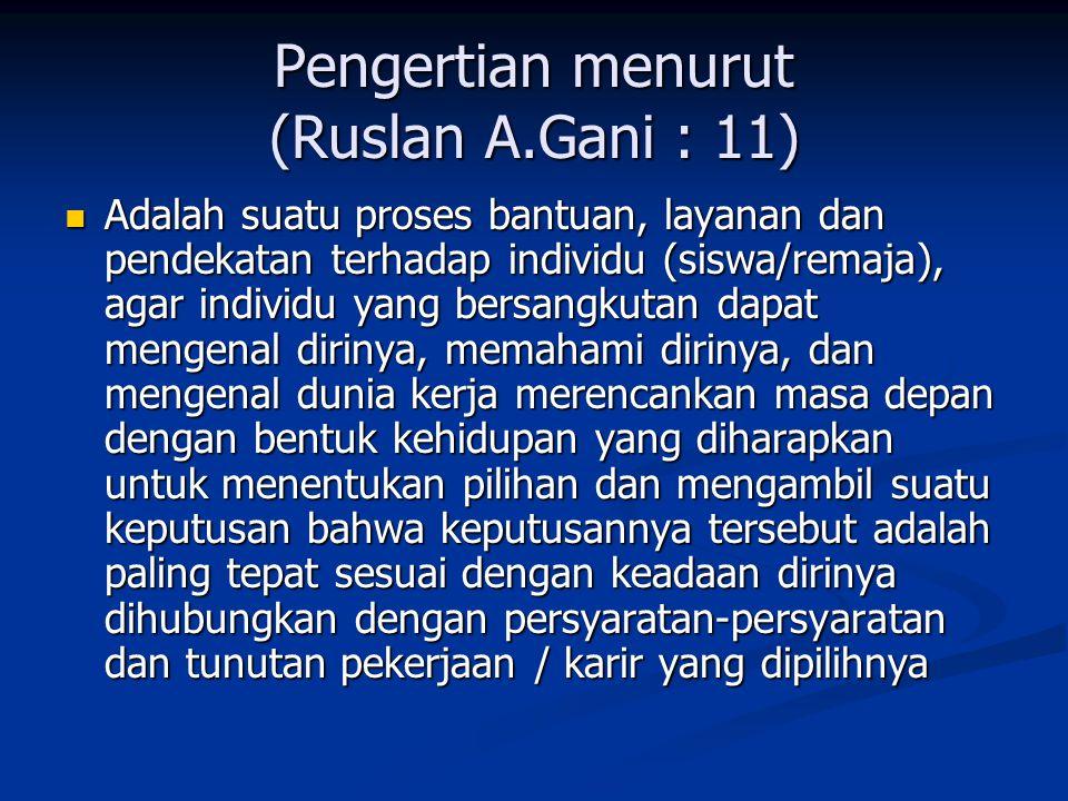 Pengertian menurut (Ruslan A.Gani : 11)