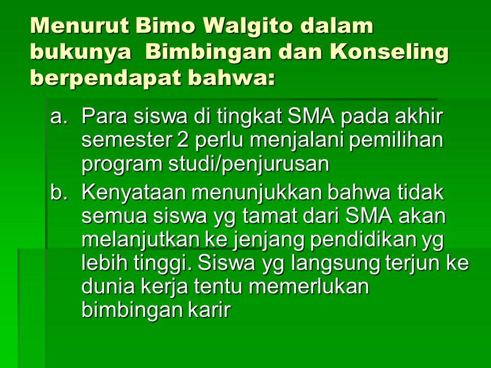 Menurut Bimo Walgito dalam bukunya Bimbingan dan Konseling berpendapat bahwa: