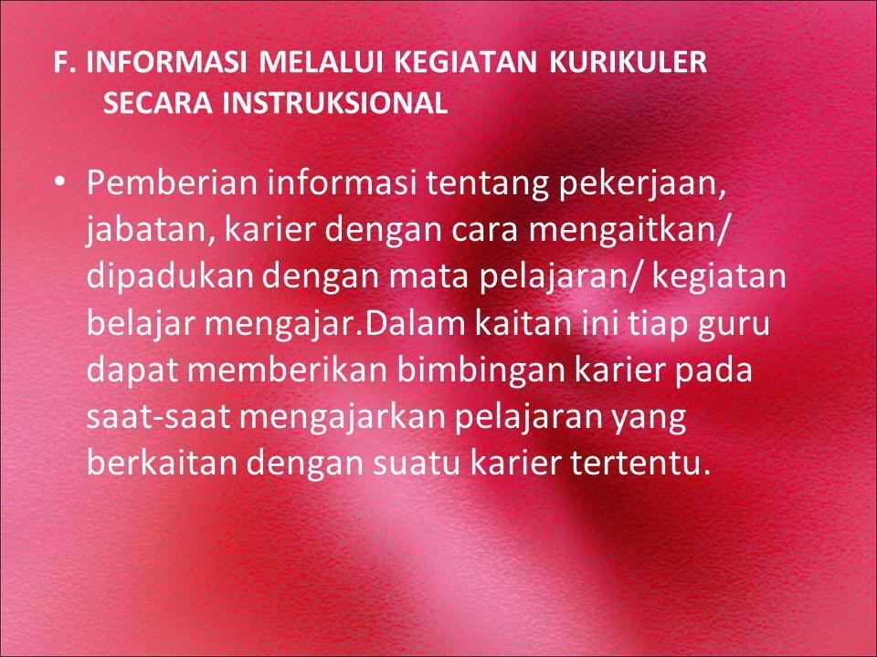 F. INFORMASI MELALUI KEGIATAN KURIKULER SECARA INSTRUKSIONAL