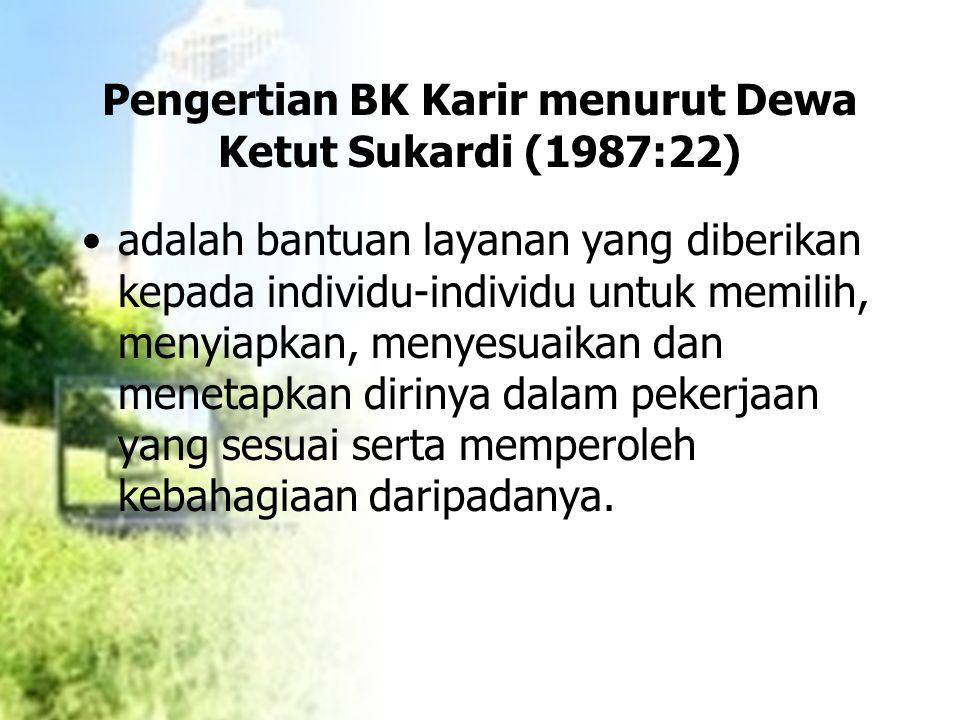 Pengertian BK Karir menurut Dewa Ketut Sukardi (1987:22)