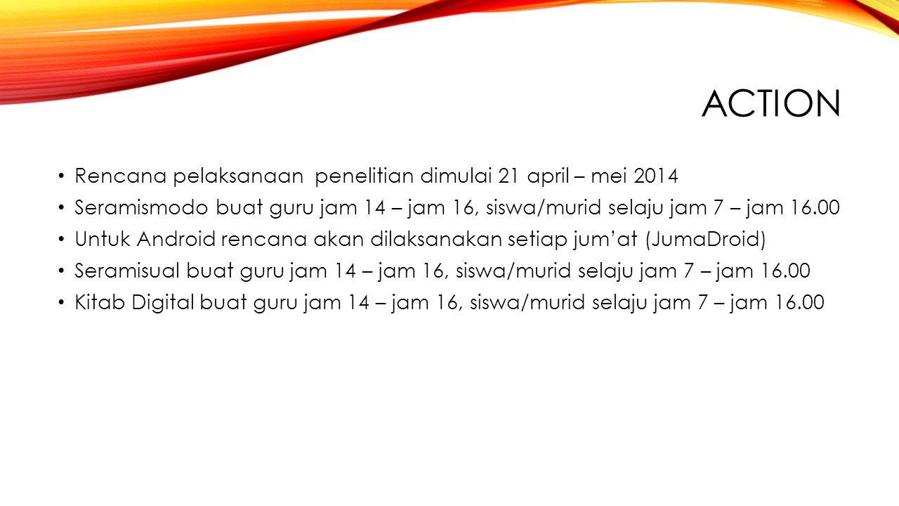 ACTION Rencana pelaksanaan penelitian dimulai 21 april – mei 2014