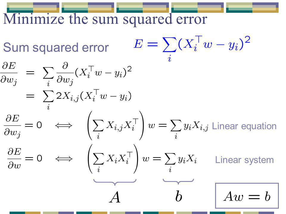 Minimize the sum squared error