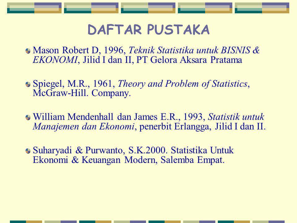 DAFTAR PUSTAKA Mason Robert D, 1996, Teknik Statistika untuk BISNIS & EKONOMI, Jilid I dan II, PT Gelora Aksara Pratama.