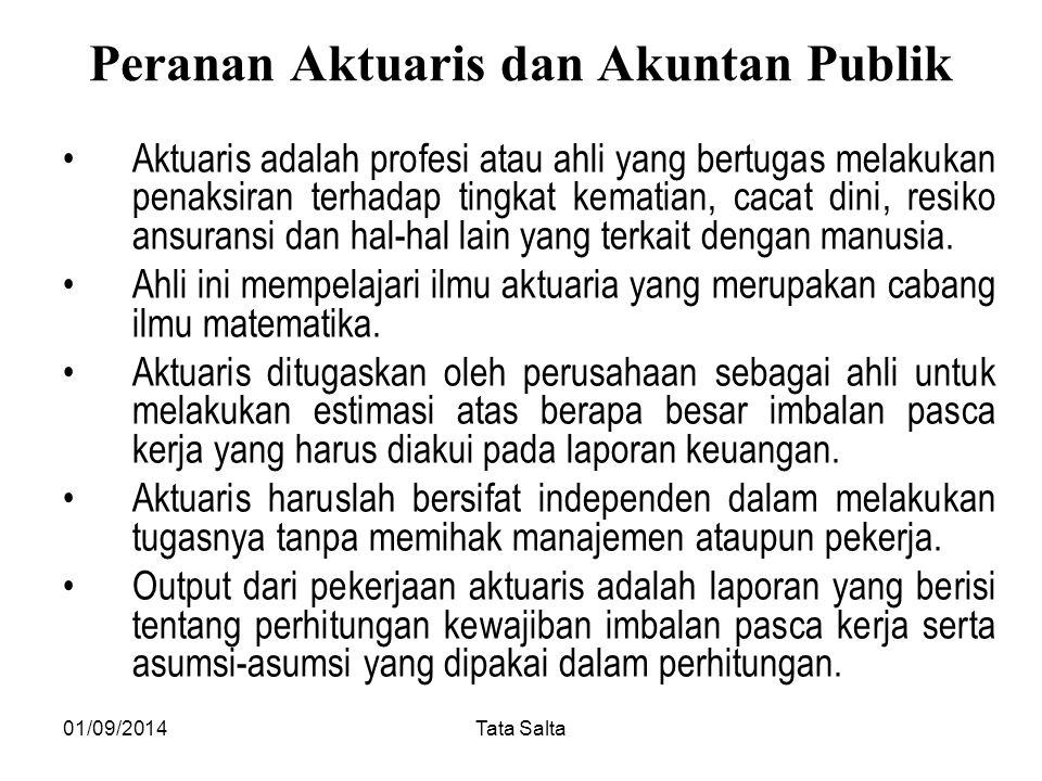 Peranan Aktuaris dan Akuntan Publik