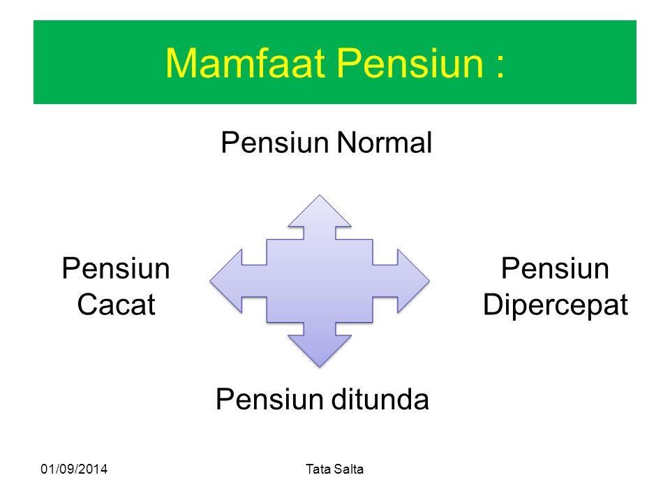 Mamfaat Pensiun : Pensiun Normal Pensiun Cacat Pensiun Dipercepat