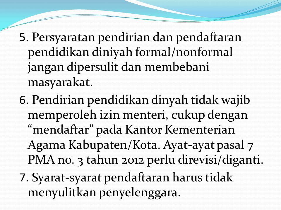 5. Persyaratan pendirian dan pendaftaran pendidikan diniyah formal/nonformal jangan dipersulit dan membebani masyarakat.