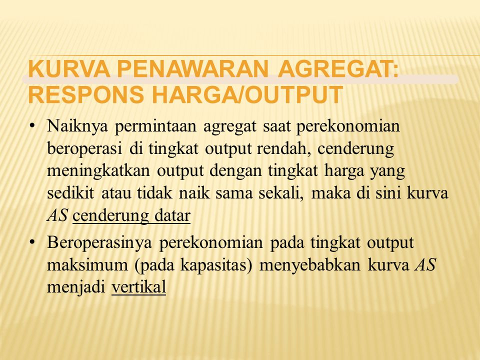 KURVA PENAWARAN AGREGAT: RESPONS HARGA/OUTPUT
