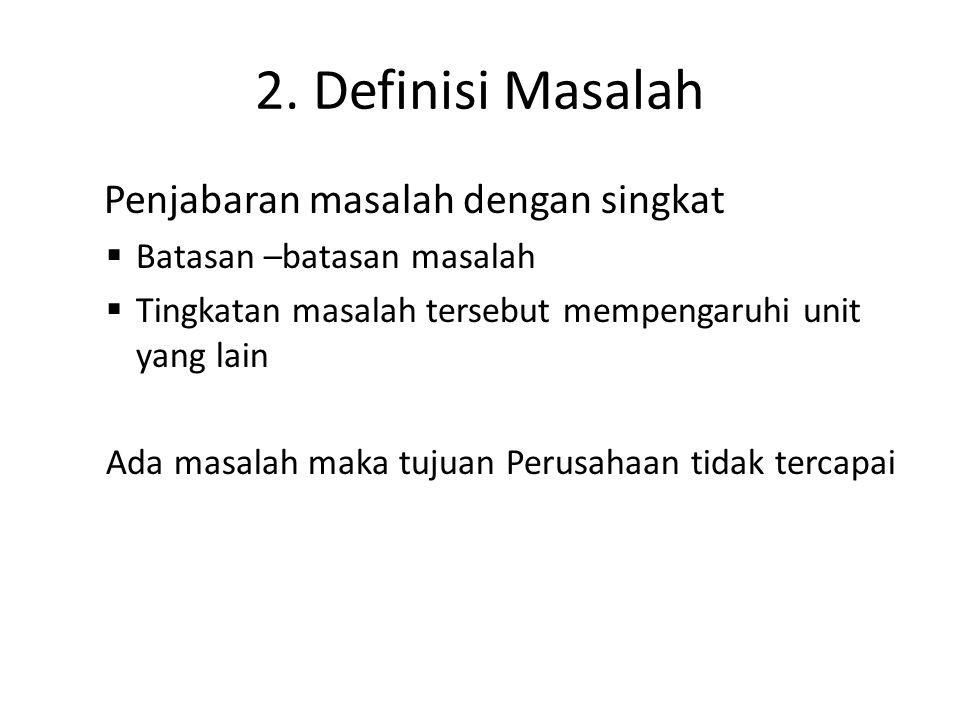 2. Definisi Masalah Penjabaran masalah dengan singkat