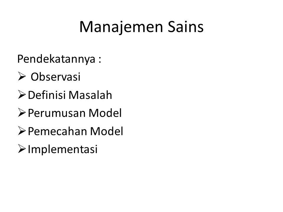 Manajemen Sains Pendekatannya : Observasi Definisi Masalah