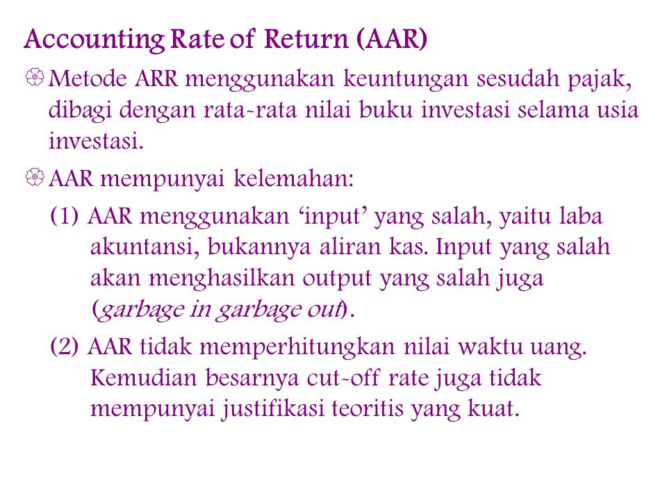 Accounting Rate of Return (AAR)