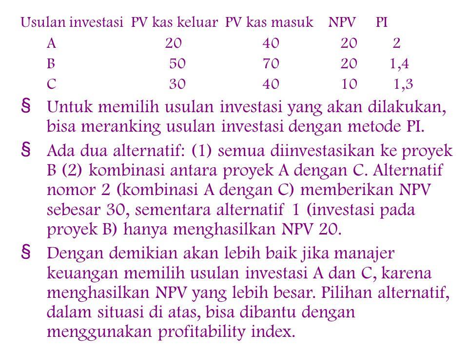 Usulan investasi PV kas keluar PV kas masuk NPV PI