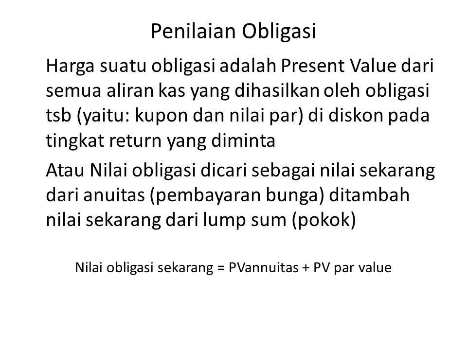 Nilai obligasi sekarang = PVannuitas + PV par value