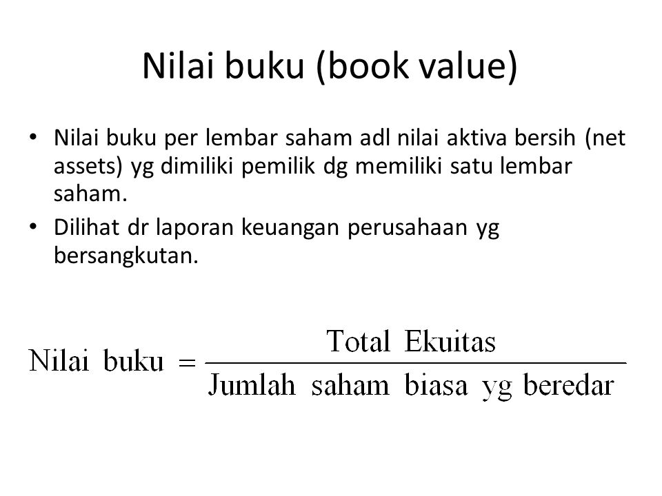 Nilai buku (book value)