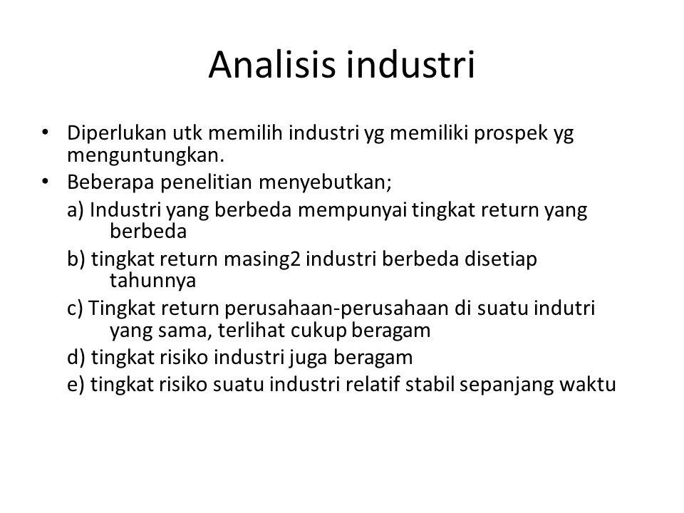 Analisis industri Diperlukan utk memilih industri yg memiliki prospek yg menguntungkan. Beberapa penelitian menyebutkan;