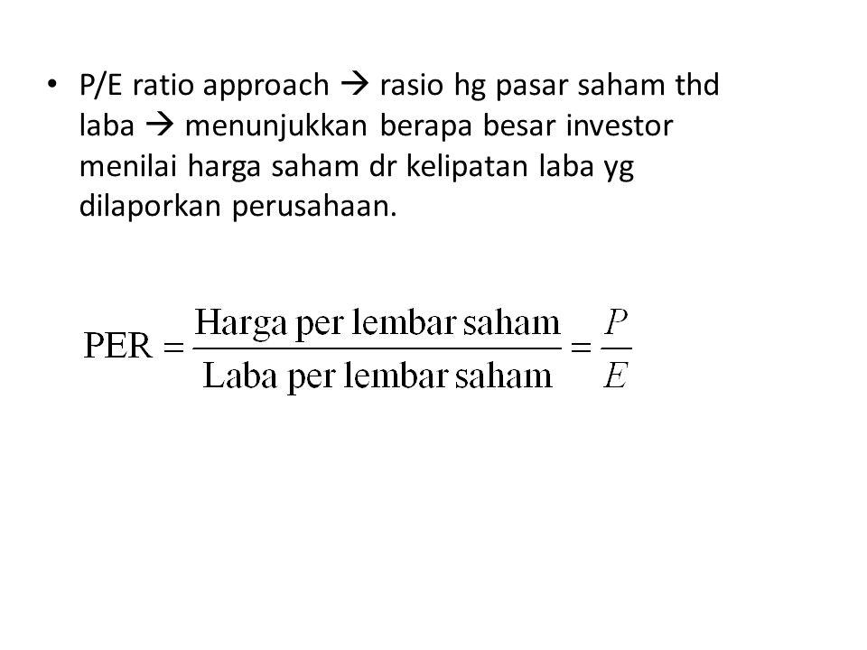 P/E ratio approach  rasio hg pasar saham thd laba  menunjukkan berapa besar investor menilai harga saham dr kelipatan laba yg dilaporkan perusahaan.