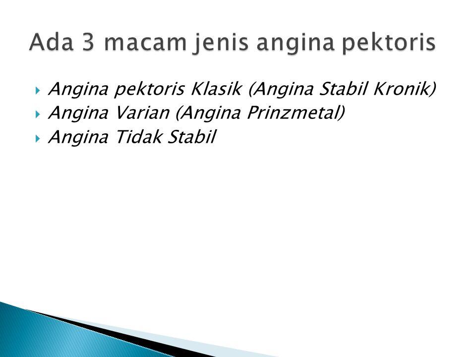 Ada 3 macam jenis angina pektoris