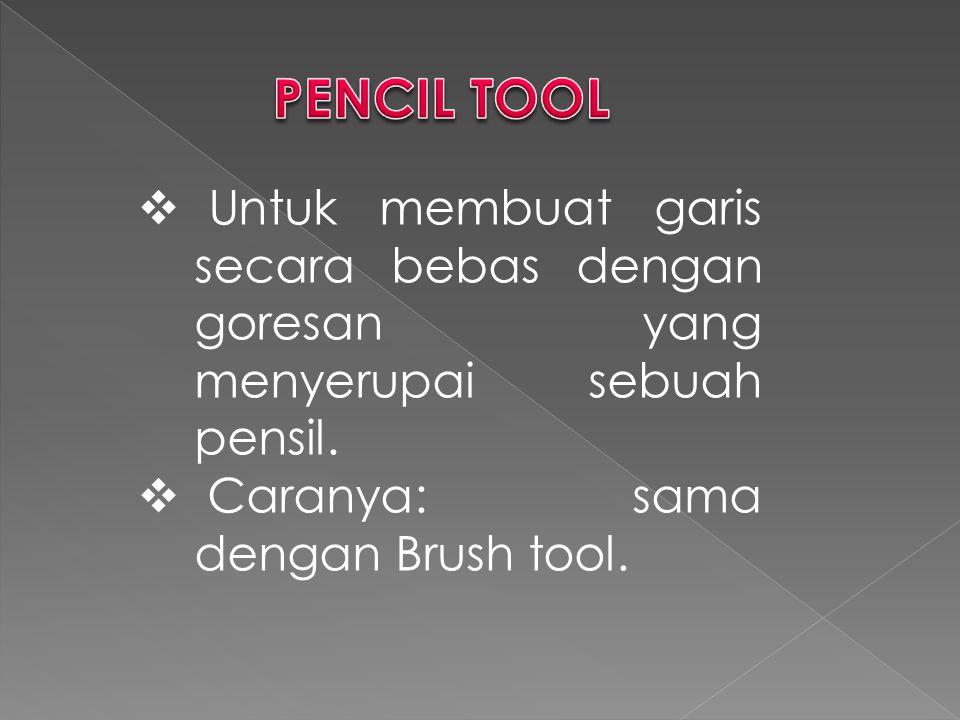 PENCIL TOOL Untuk membuat garis secara bebas dengan goresan yang menyerupai sebuah pensil.