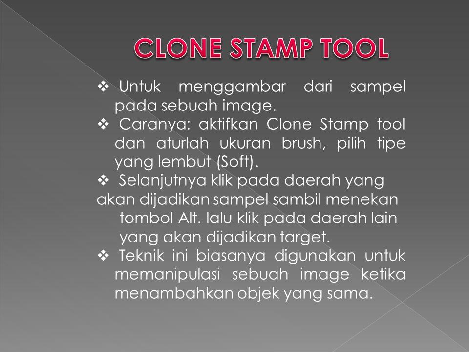 CLONE STAMP TOOL Untuk menggambar dari sampel pada sebuah image.