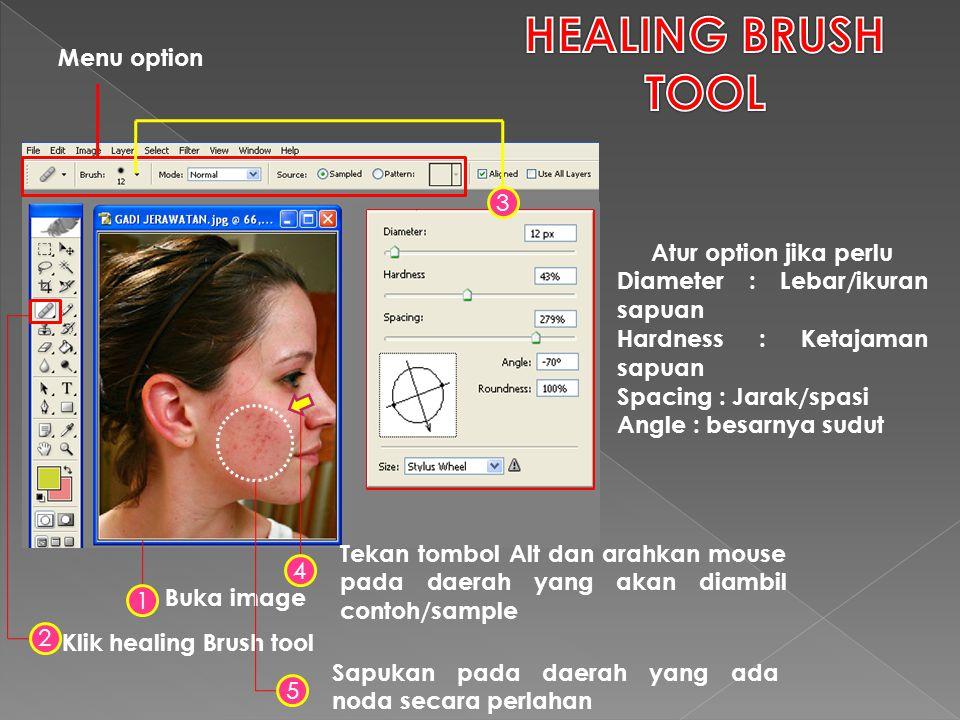 Klik healing Brush tool