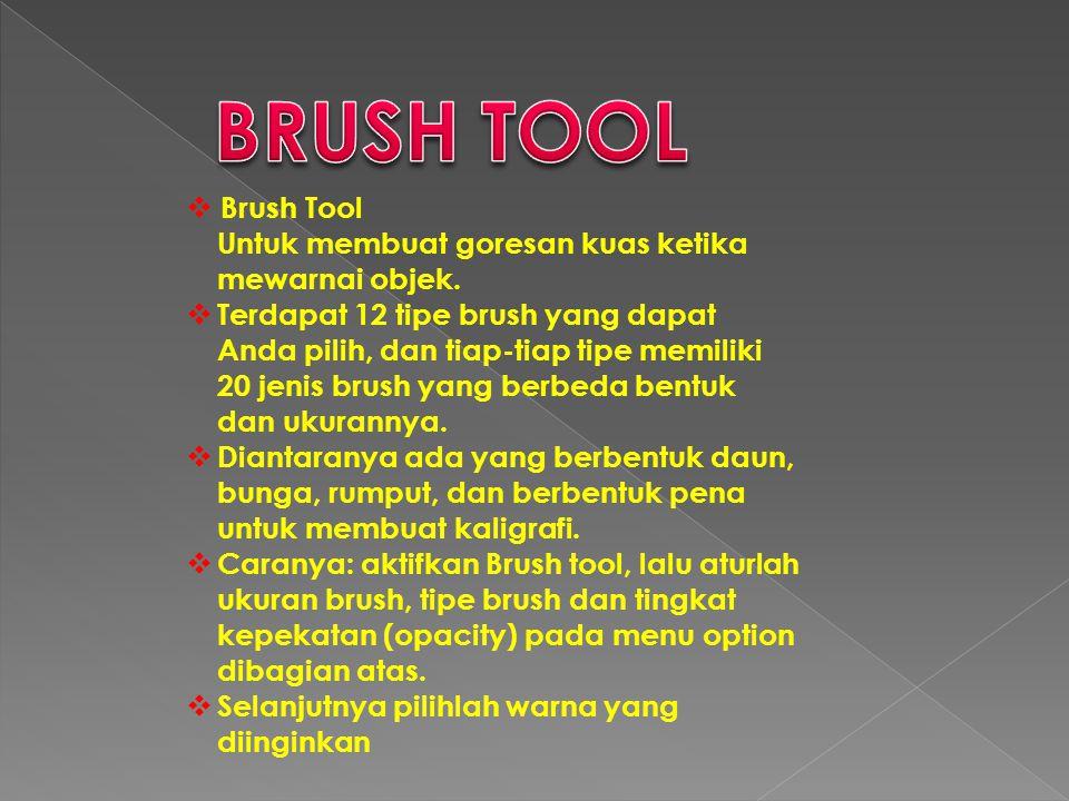 BRUSH TOOL Brush Tool. Untuk membuat goresan kuas ketika mewarnai objek.