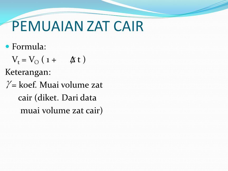 PEMUAIAN ZAT CAIR Formula: Vt = VO ( 1 + Δ t ) Keterangan: