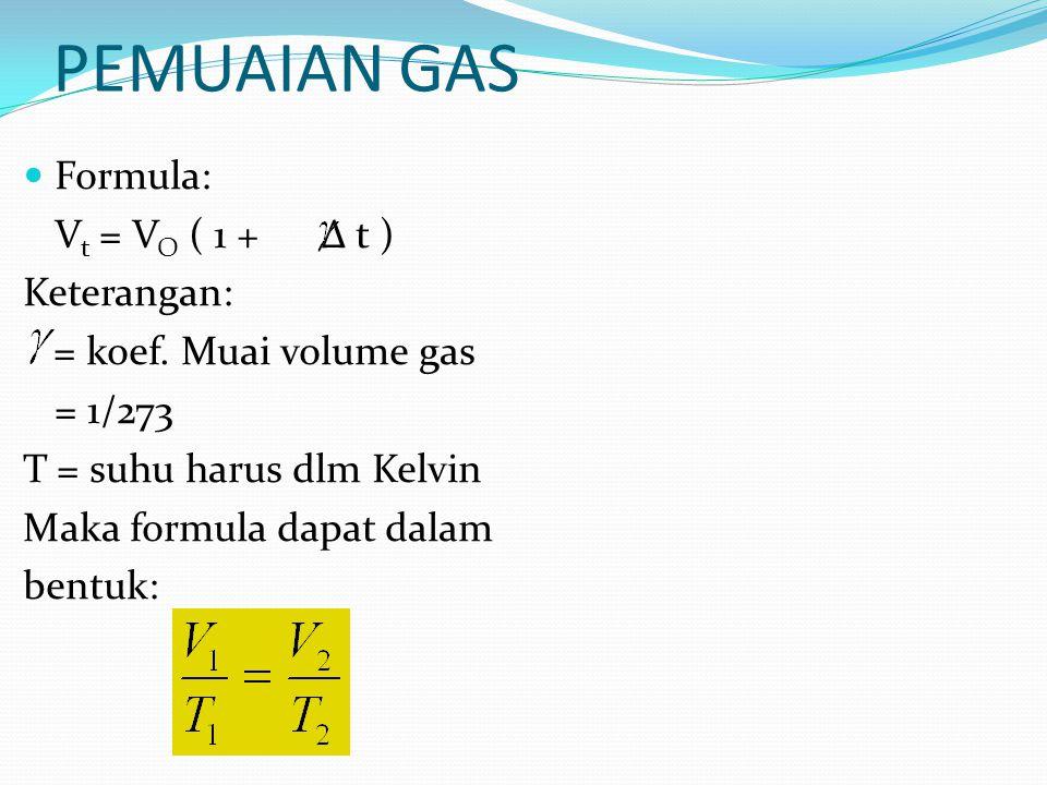 PEMUAIAN GAS Formula: Vt = VO ( 1 + Δ t ) Keterangan: