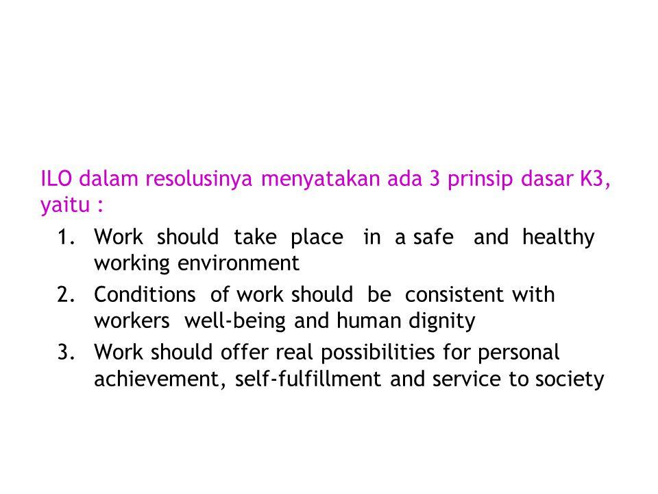 ILO dalam resolusinya menyatakan ada 3 prinsip dasar K3, yaitu :