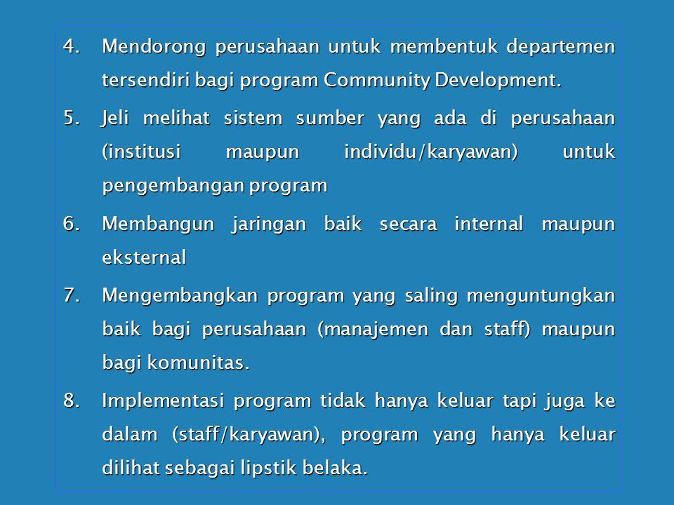 Mendorong perusahaan untuk membentuk departemen tersendiri bagi program Community Development.
