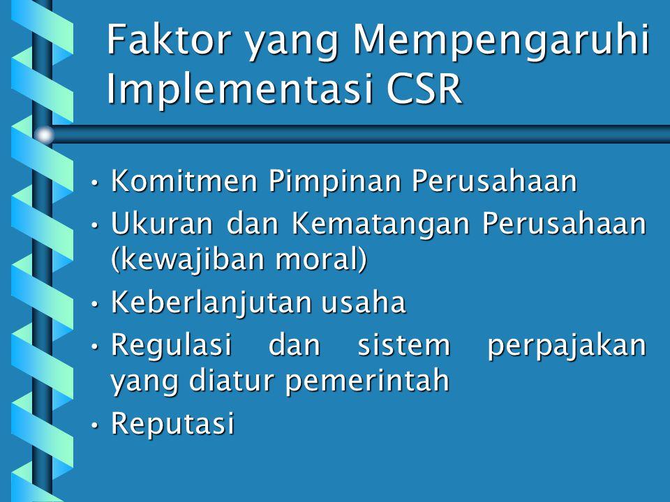 Faktor yang Mempengaruhi Implementasi CSR