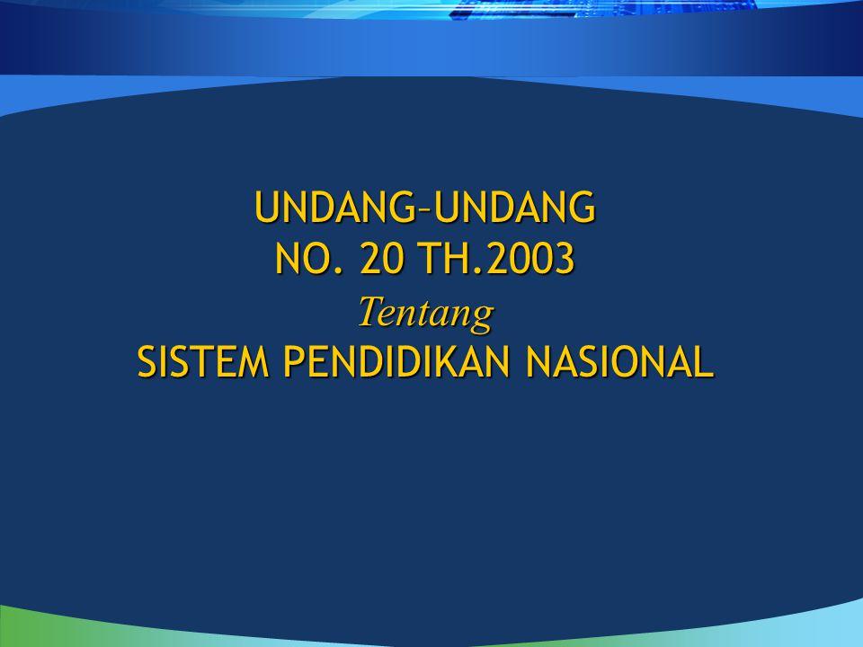 UNDANG–UNDANG NO. 20 TH.2003 Tentang SISTEM PENDIDIKAN NASIONAL
