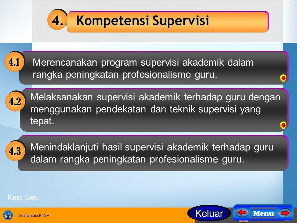 4. Kompetensi Supervisi 4.1. Merencanakan program supervisi akademik dalam rangka peningkatan profesionalisme guru.