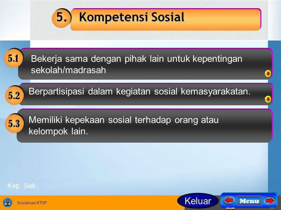 5. Kompetensi Sosial 5.1. Bekerja sama dengan pihak lain untuk kepentingan sekolah/madrasah. Berpartisipasi dalam kegiatan sosial kemasyarakatan.
