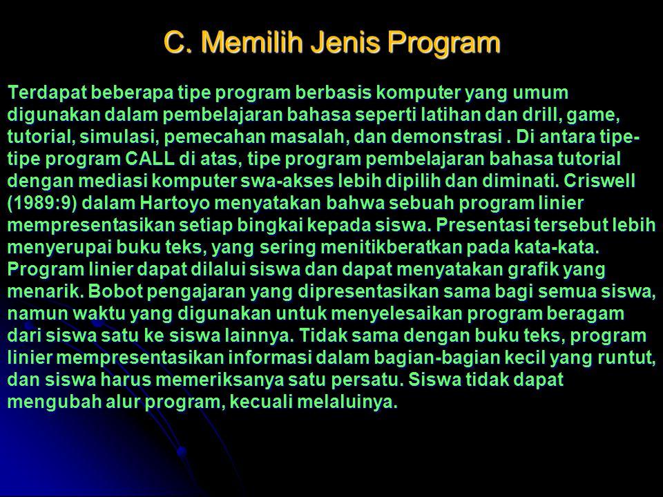 C. Memilih Jenis Program