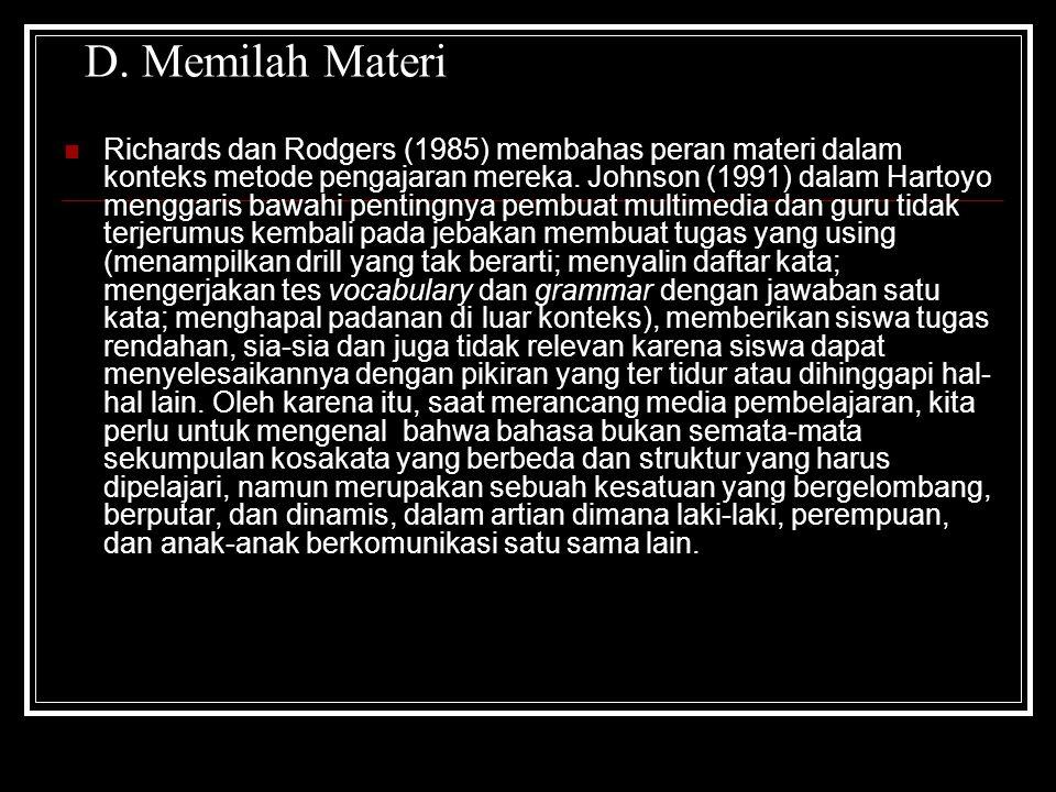 D. Memilah Materi