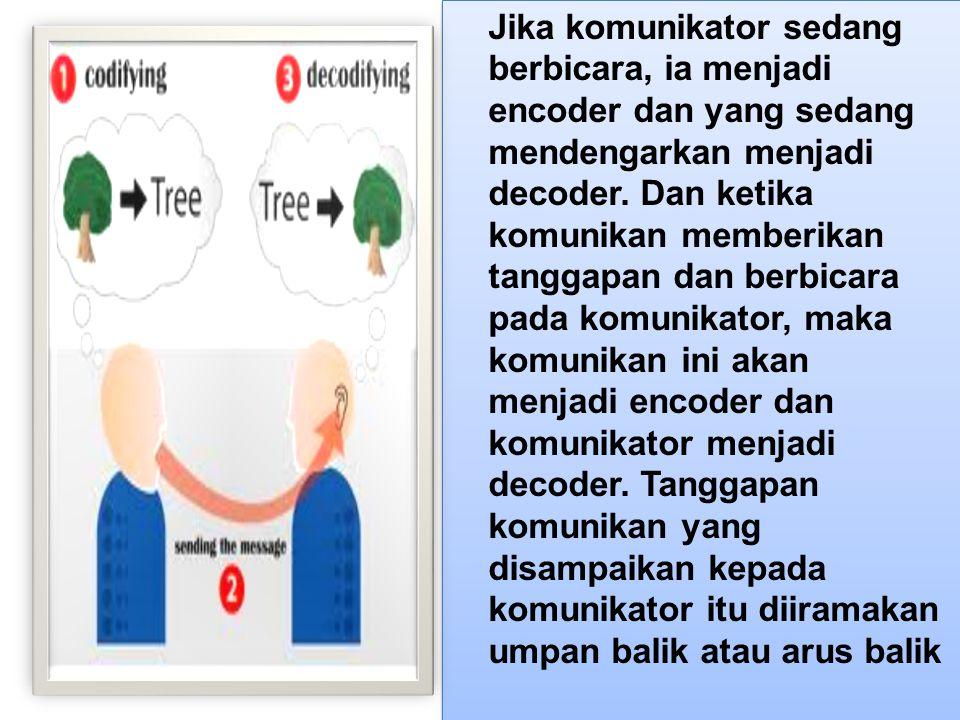 Jika komunikator sedang berbicara, ia menjadi encoder dan yang sedang mendengarkan menjadi decoder.