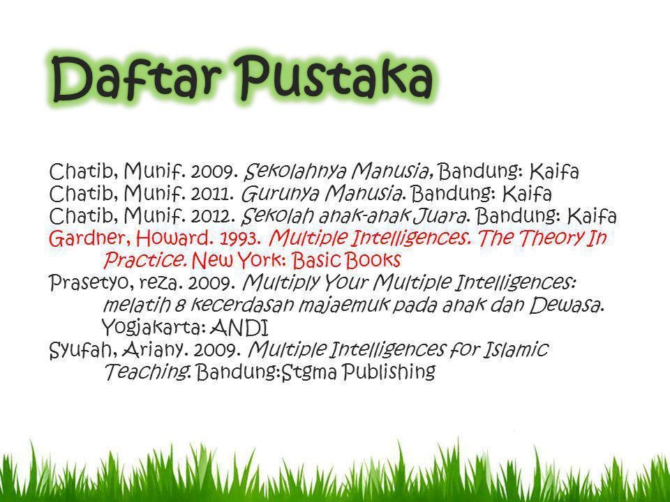 Daftar Pustaka Chatib, Munif. 2009. Sekolahnya Manusia, Bandung: Kaifa