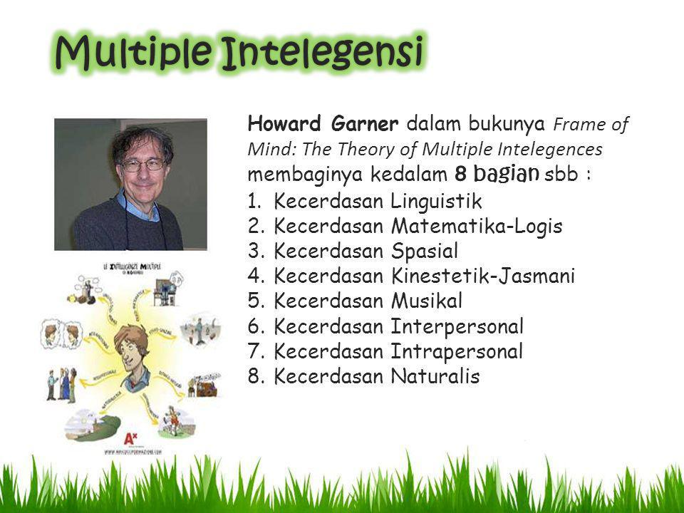 Multiple Intelegensi Howard Garner dalam bukunya Frame of Mind: The Theory of Multiple Intelegences membaginya kedalam 8 bagian sbb :