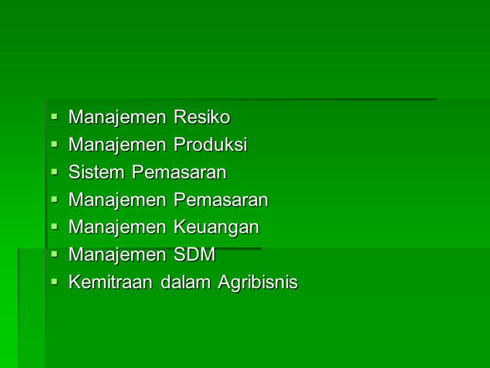 Manajemen Resiko Manajemen Produksi. Sistem Pemasaran. Manajemen Pemasaran. Manajemen Keuangan. Manajemen SDM.