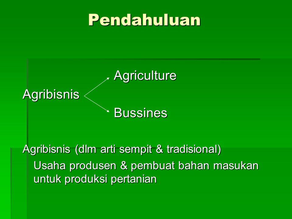 Pendahuluan Agribisnis Agribisnis (dlm arti sempit & tradisional)